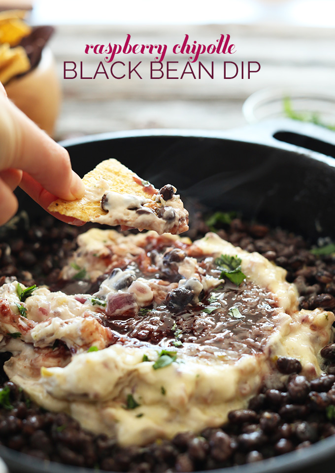 RASPBERRY CHIPOTLE BLACK BEAN DIP! A light vegan dip loaded with flavor and perfect for sharing #minimalistbaker