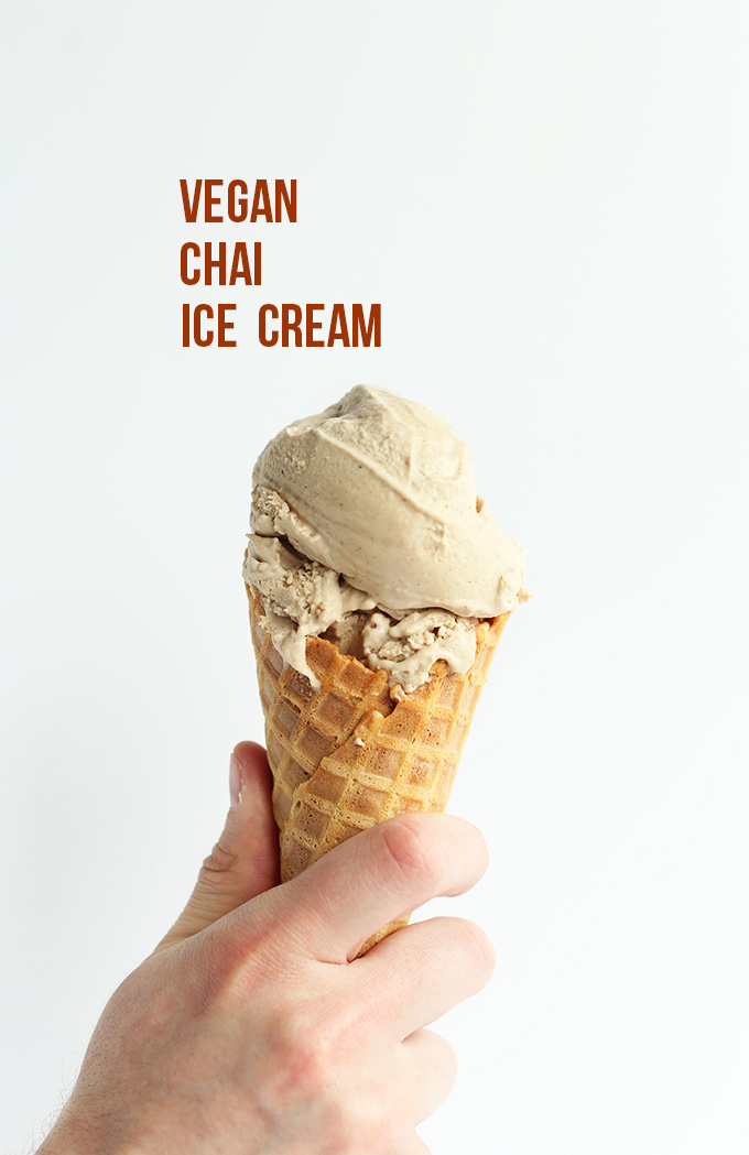 Scoop of Creamy Vegan Chai Ice Cream on a cone