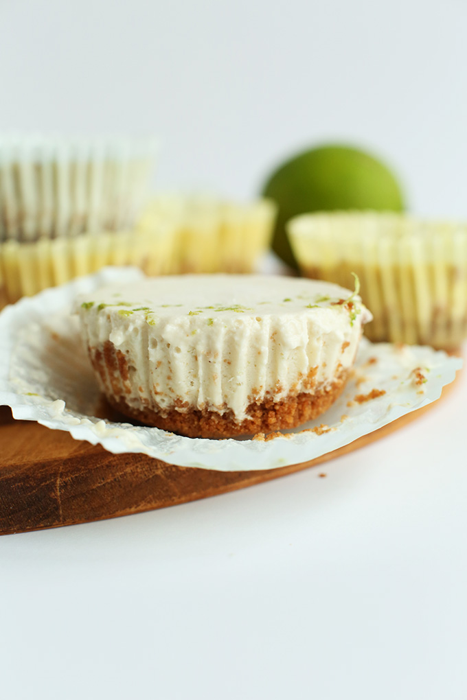 Close up shot of a Mini Vegan Key Lime Pie