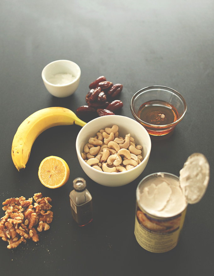 Dates, cashews, walnuts, and other ingredients for making Vegan Banana Cream Pie