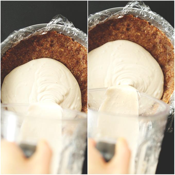 Pouring Vegan Banana Cream Pie filling into a pie crust