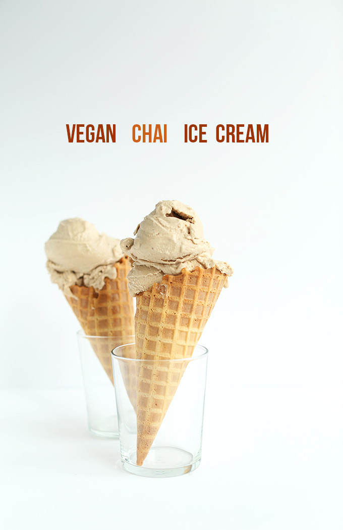 Waffle cones filled with scoops of our Vegan Chai Ice Cream recipe