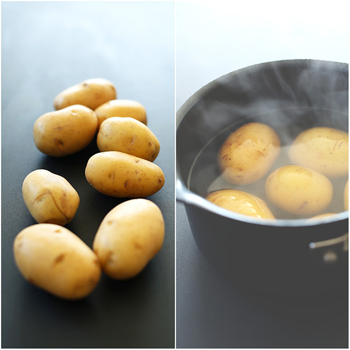 Gold potatoes on a dark surface and in a saucepan