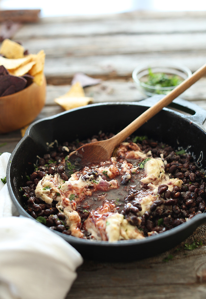 Skillet filled with our healthy Raspberry Chipotle Black Bean Dip recipe