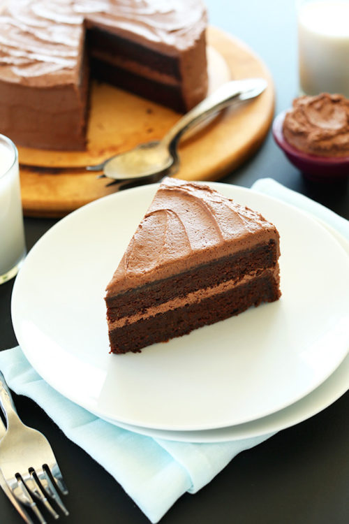 Slice of Vegan Chocolate Cake with Chocolate Frosting