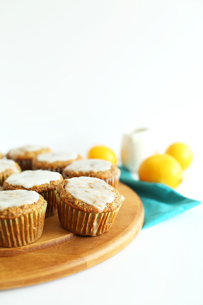Meyer lemons and Vegan Lemon Poppyseed Muffins with glaze