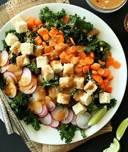 Quick and easy Thai Kale Salad for a weeknight vegan meal