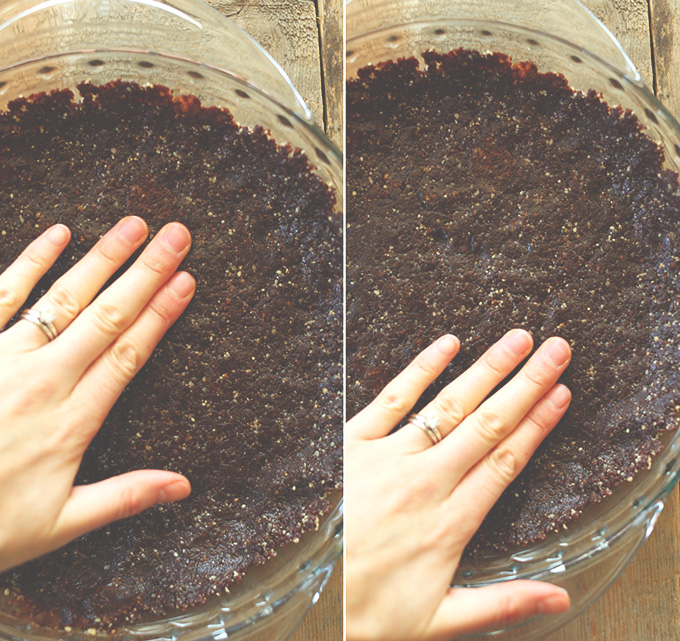 Pressing gluten-free vegan Brownie Crust into a pie pan