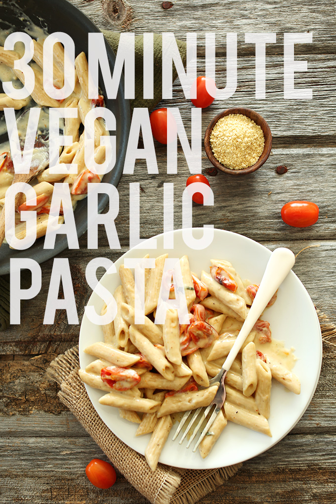 Pan and plate of 30-Minute Creamy Vegan Garlic Pasta
