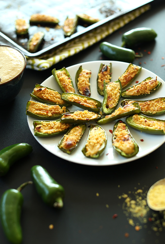 Plate of Vegan Jalapeno Poppers for a quick and easy gluten-free dish