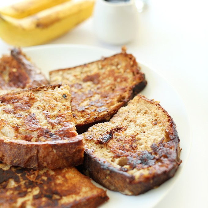 Plate with slices of 5 Ingredient Vegan Banana French Toast