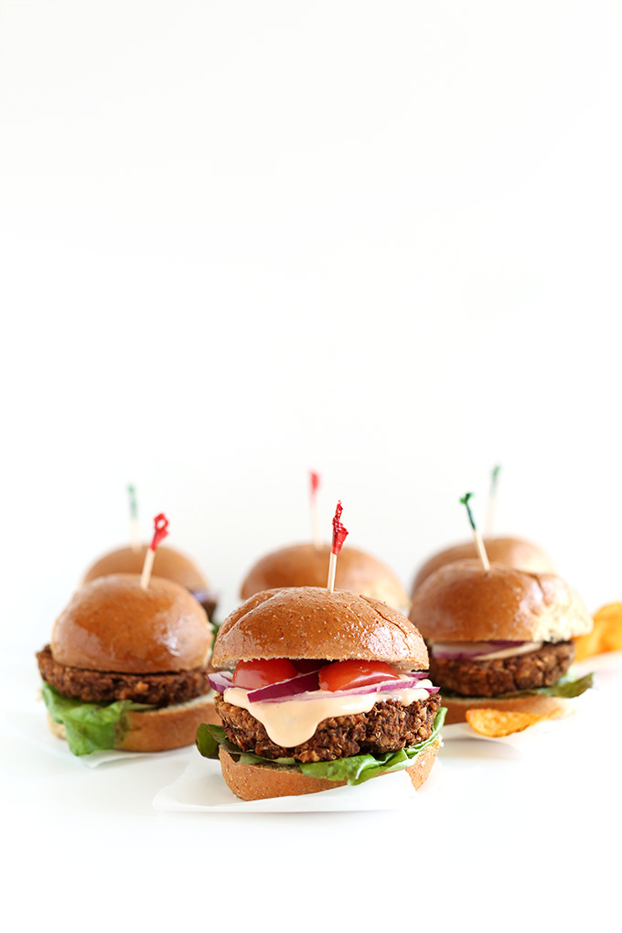 Gluten-free vegan Veggie Sliders with toothpicks in them