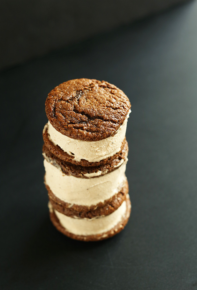 Stack of Vegan Gluten-Free Ginger-Chai Ice Cream Sandwiches