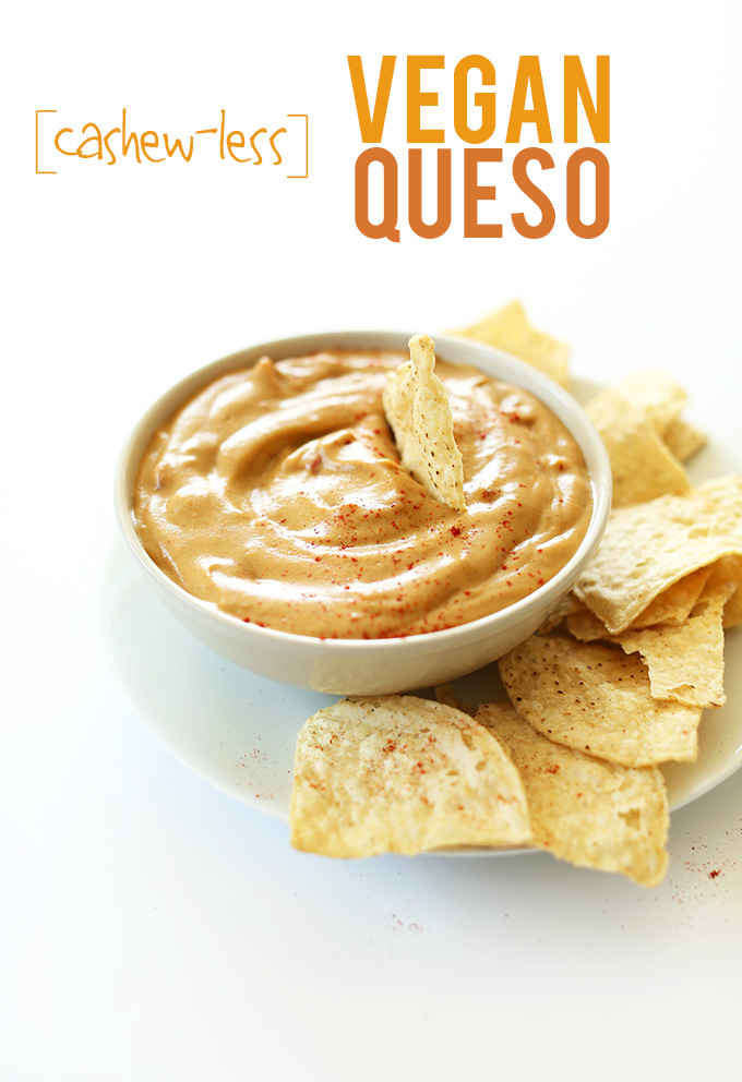 Tortilla chips and a bowl of Cashew-Less Vegan Queso