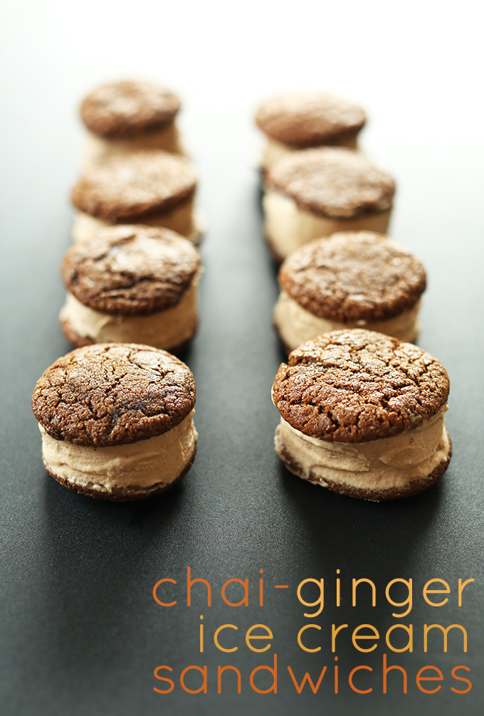 Two lines of Chai Ginger Ice Cream Sandwiches for a delicious Vegan GF summer treat