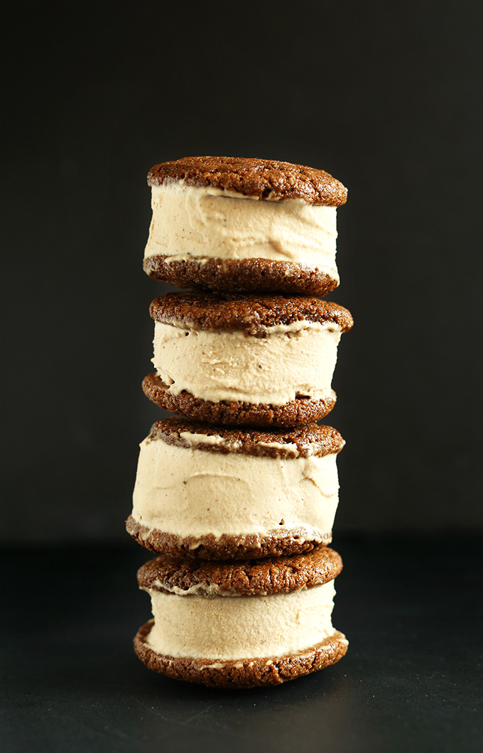 Stack of Chai Ice Cream Sandwiches made with Ginger Cookies