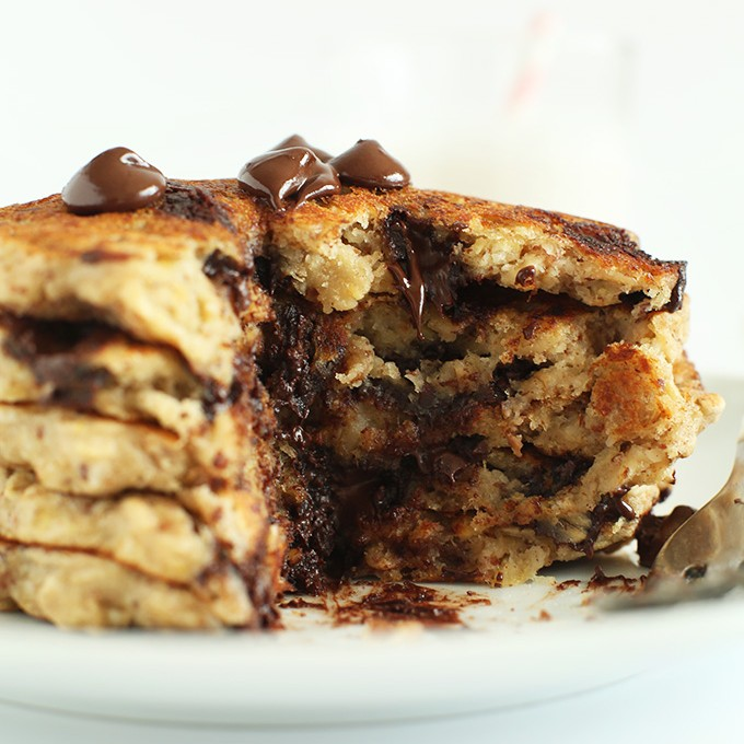 Stacked gluten-free vegan Oatmeal Chocolate Chip Cookie Pancakes