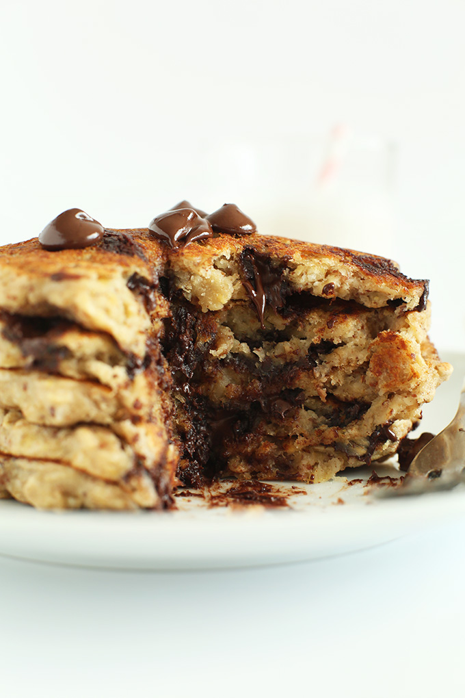 Stack of Chocolate Chip Oatmeal Cookie Pancakes for a delicious 1 bowl gluten-free vegan breakfast