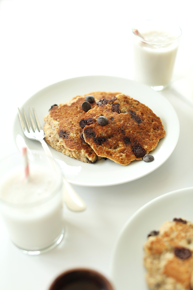 Plate of Chocolate Chip Oatmeal Cookie Pancakes for a delicious gluten-free vegan breakfast