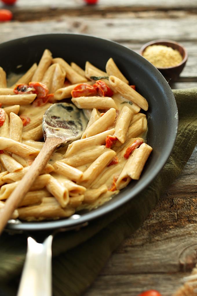 Pan of Creamy Vegan Garlic Pasta with Roasted Tomatoes