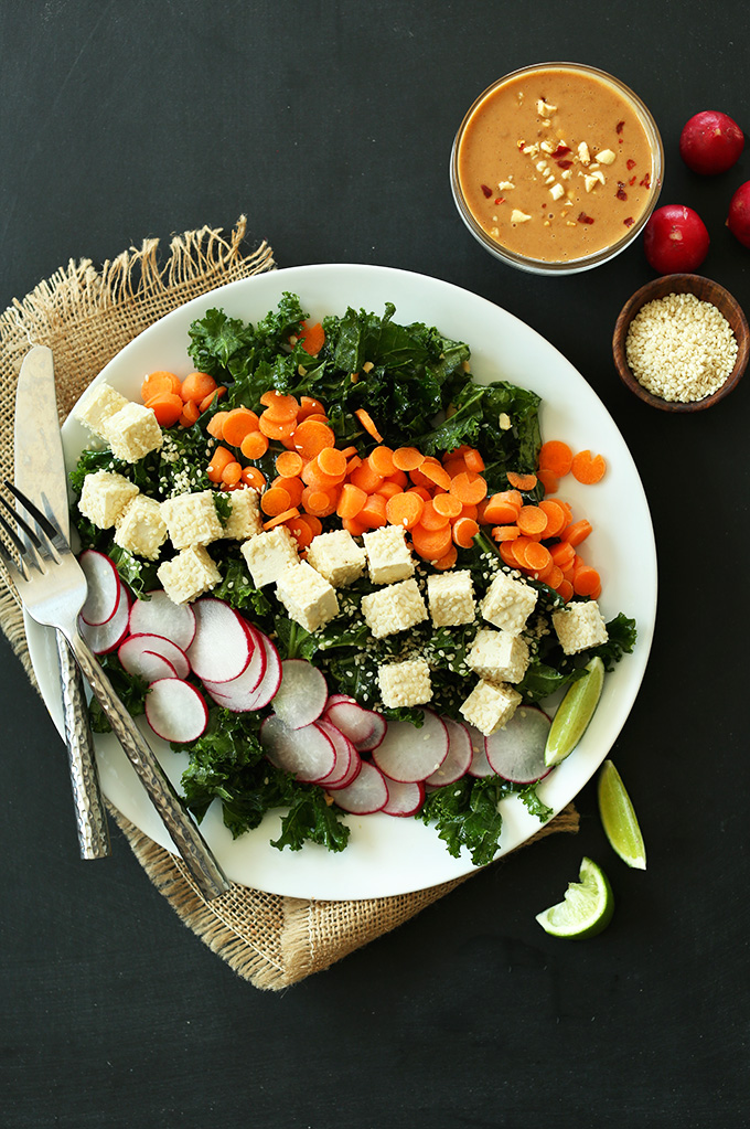 Big plate of Crunchy Thai Kale Salad for a gluten-free vegan dinner
