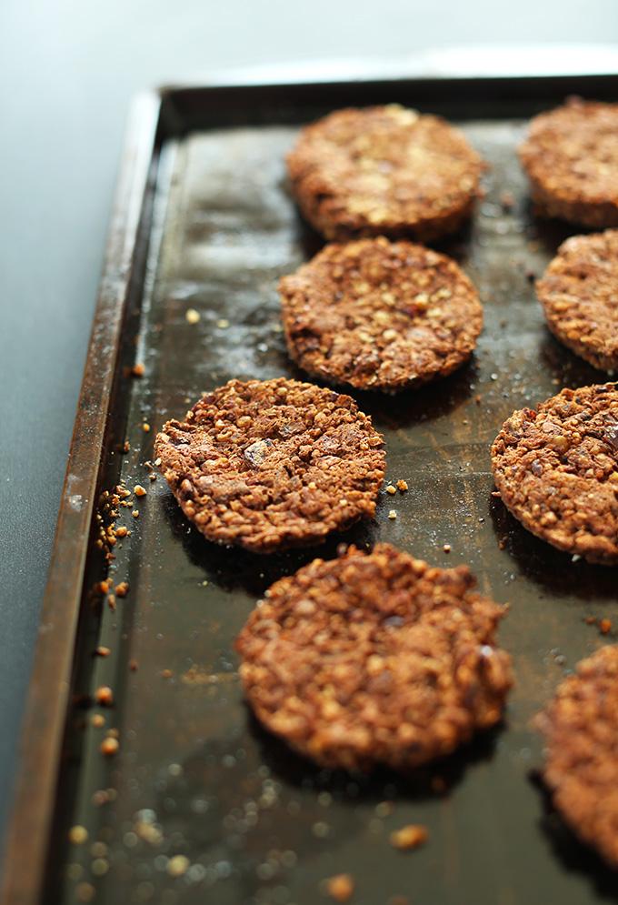 Freshly baked gluten-free Veggie Burgers on a baking sheet