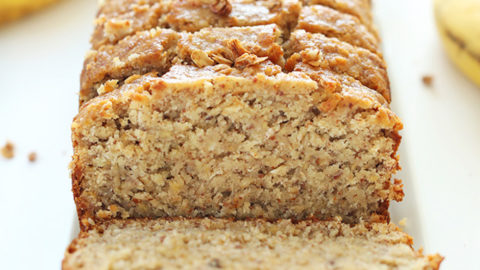 Loaf of sliced Gluten Free Banana Bread for a delicious treat