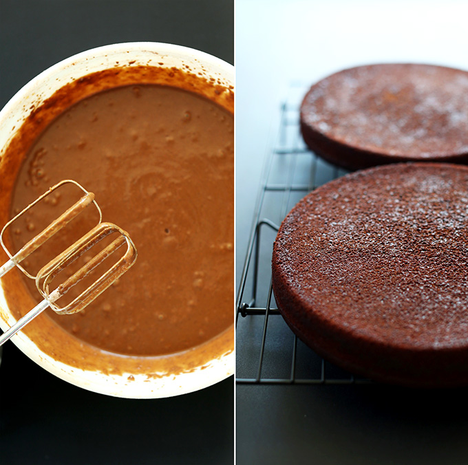 Bowl of Vegan Chocolate Cake batter and two cake layers resting on a cooling rack