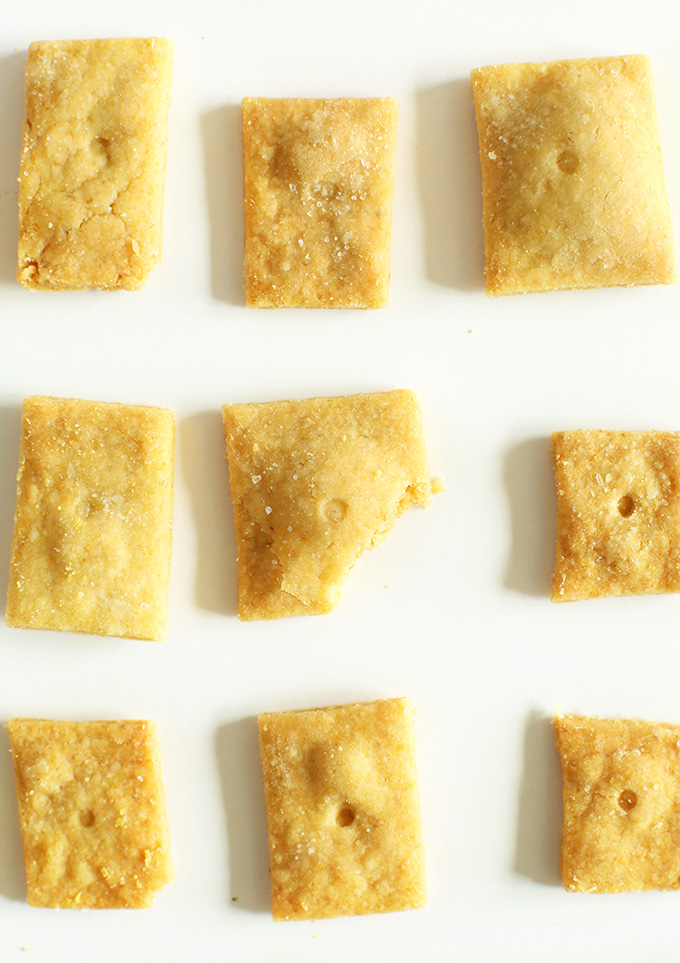 Close up shot of healthy Vegan Cheez-Its on a white background