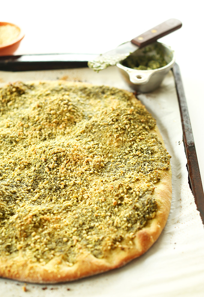 Freshly baked Vegan Pesto Breadstick dough ready for slicing