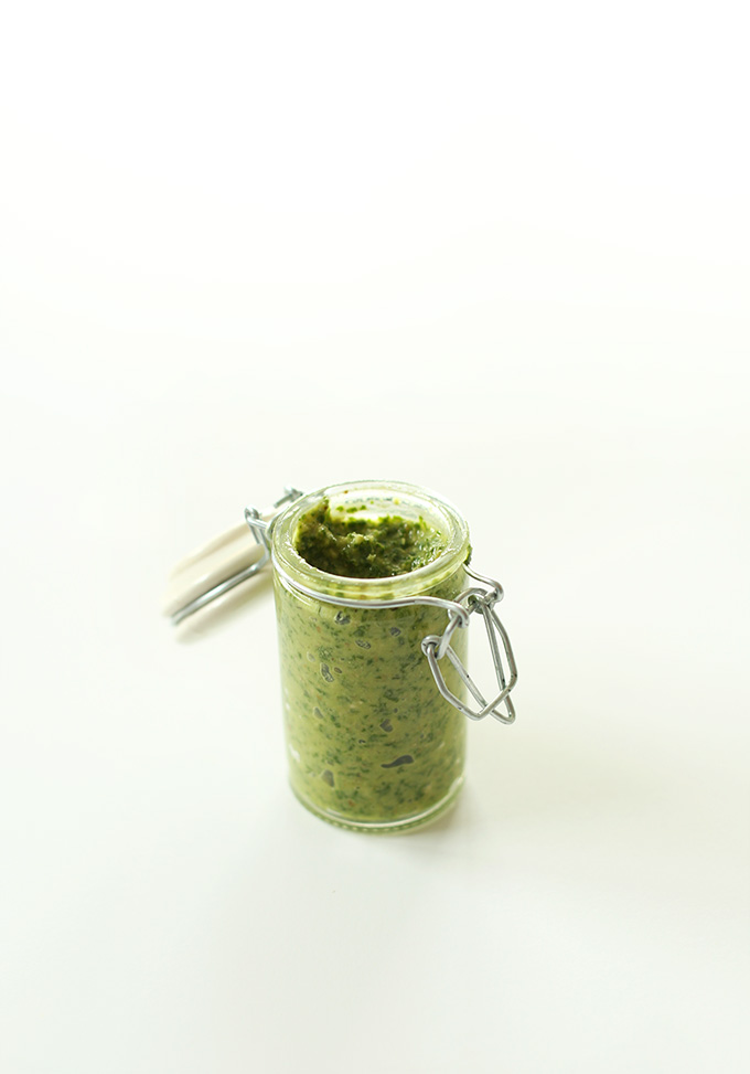 Jar of homemade Easy Vegan Pesto