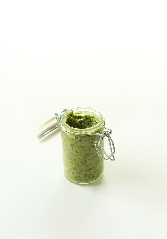 Jar of homemade Easy Vegan Pesto