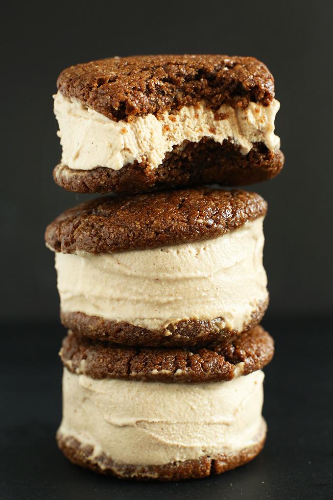 Creamy and tender gluten-free vegan Ice Cream Sandwiches stacked up high