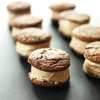 Two columns of Vegan Chai Ginger Ice Cream Cookie Sandwiches