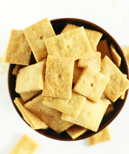 Big bowl of Vegan Cheez Its for a delicious vegan snack