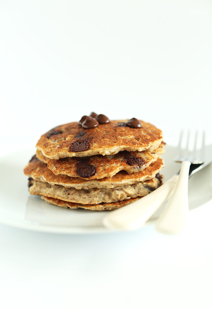 Stack of delicious gluten-free vegan Chocolate Chip Oatmeal Cookie Pancakes