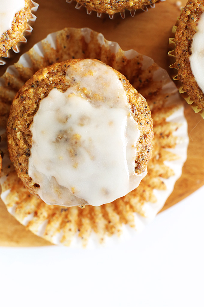 Top down shot of a Vegan Lemon Poppyseed Muffin with glaze