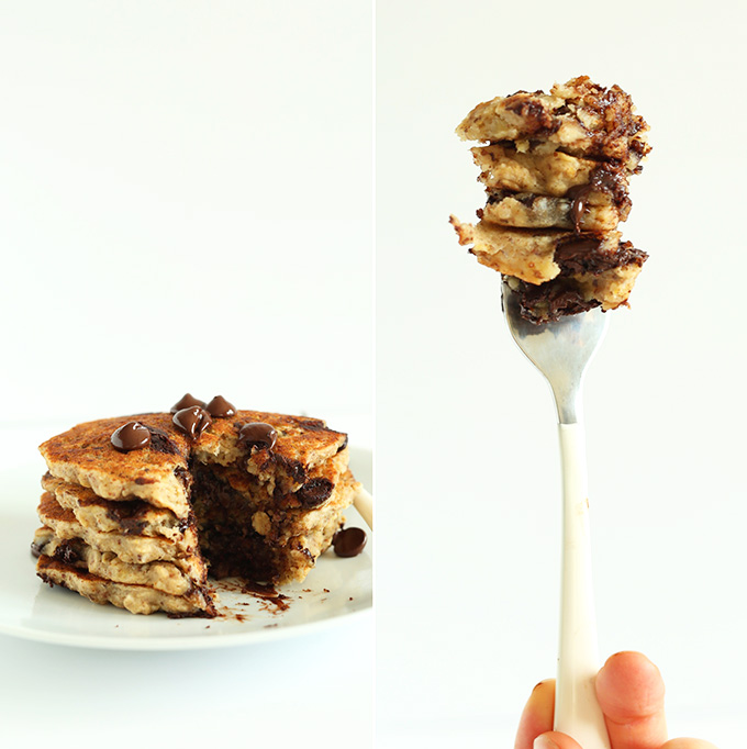 Fork piled high with a stacked bite of Chocolate Chip Oatmeal Cookie Pancakes