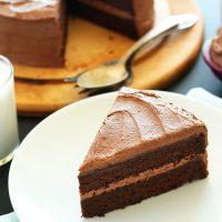 Slice of amazing Vegan Chocolate Cake on a plate