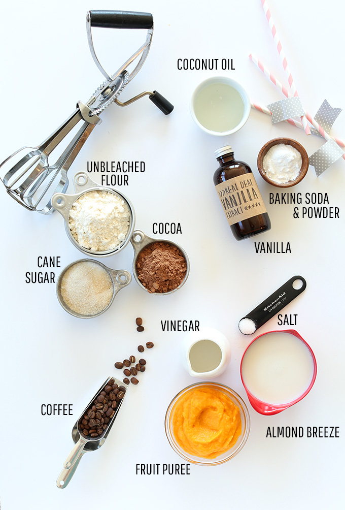 Flour sugar, cocoa, and other ingredients for making our easy 1-Bowl Vegan Chocolate Cake recipe
