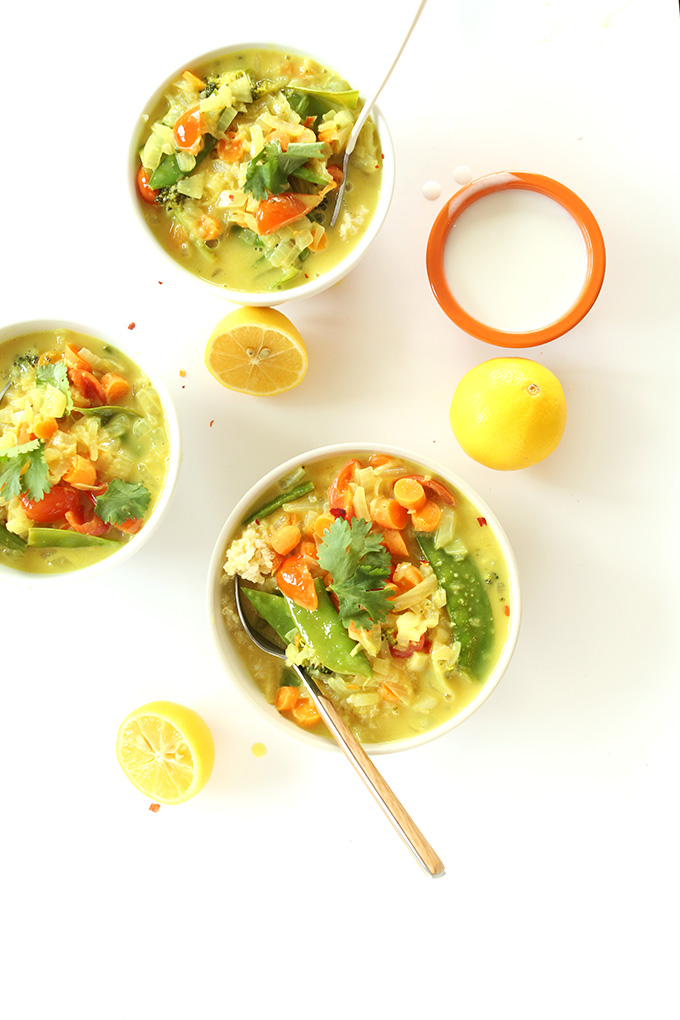 Bowls of Simple Coconut Curry with Veggies and Coconut Quinoa