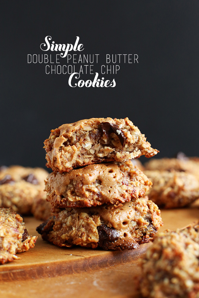 Stack of gluten-free vegan Peanut Butter Chocolate Chip Cookies