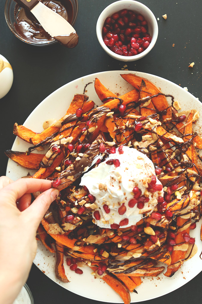 Superfood Sweet Potato Dessert Fries! 5 superfoods in ONE amazing whole foods dessert! #minimalistbaker