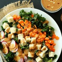 Plate of Vegan Gluten-Free Thai Kale Salad made with tofu