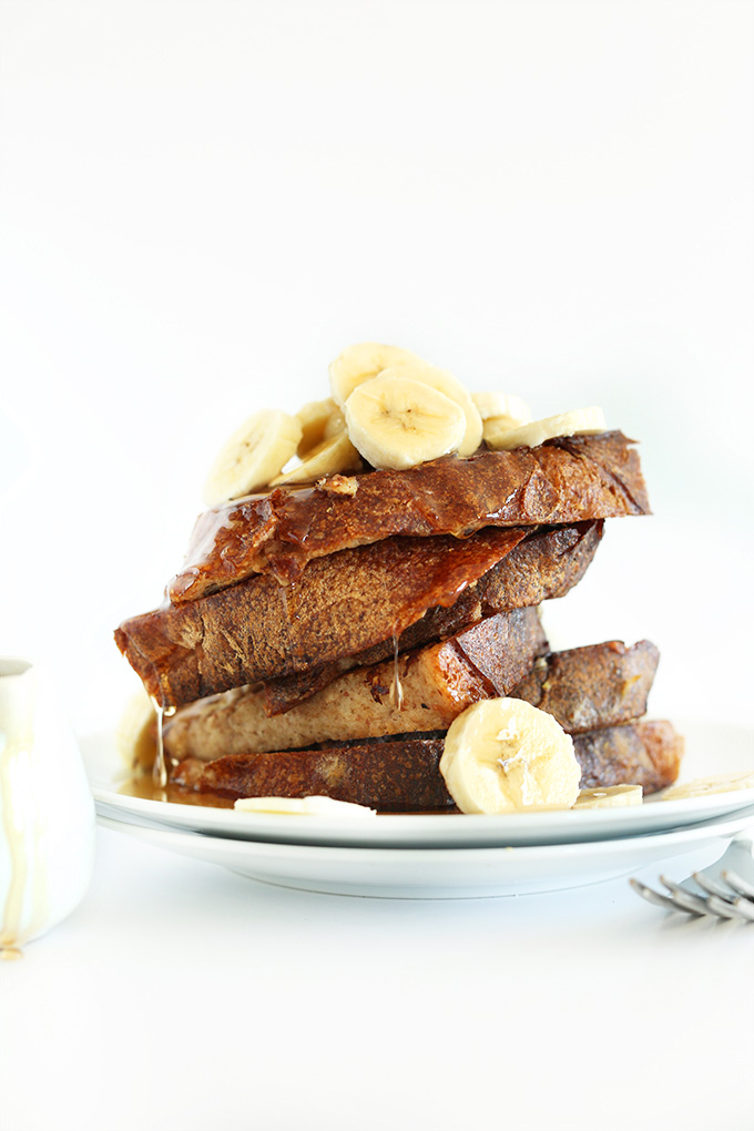Vegan Banana French Toast topped with freshly sliced bananas