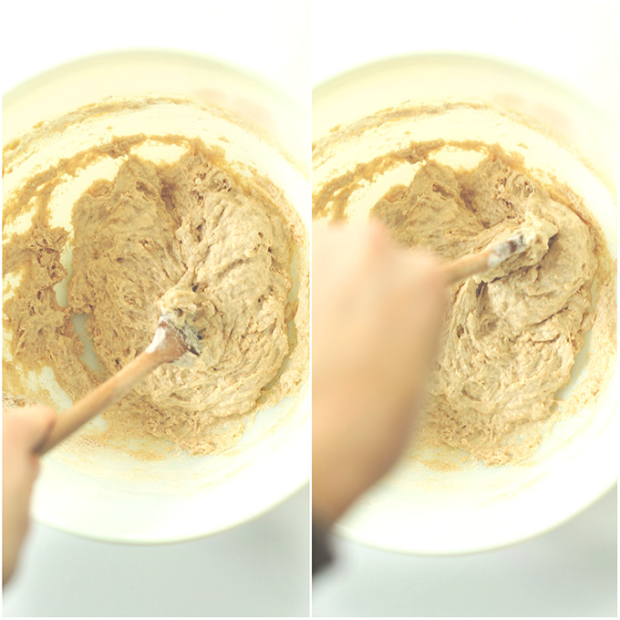 Mixing vegan breadstick dough with a wooden spoon