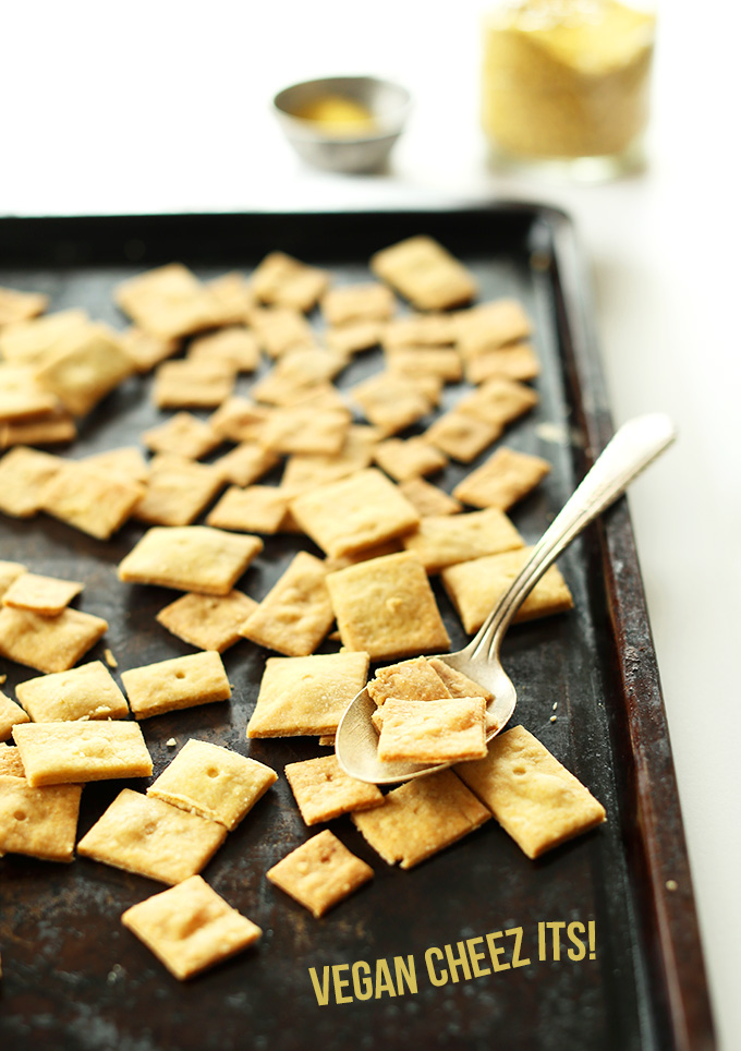 Baking sheet filled with freshly baked Vegan Cheez-Its