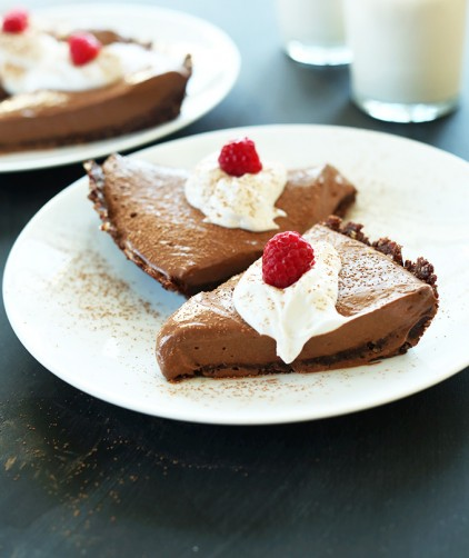 Silky and delicious Vegan Chocolate Silk Pie slices on plates