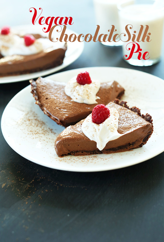 'Vegan Chocolate Silk Pie! 6 Ingredients, No Baking required and SO silky, chocolaty, and delicious #minimalistbaker' from the web at 'https://minimalistbaker.com/wp-content/uploads/2014/03/Vegan-Chocolate-Silk-Pie-6-Ingredients-No-Baking-required-and-SO-silky-chocolatey-and-delicious.jpg'