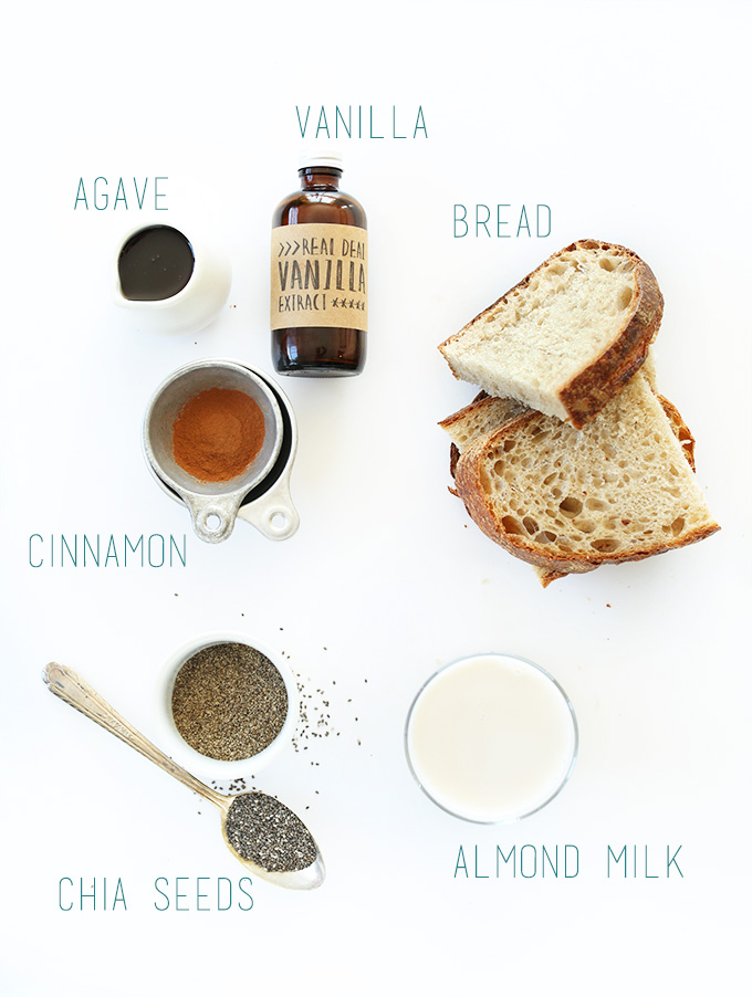 Bread, vanilla, agave, cinnamon, and other ingredients for making Vegan French Toast
